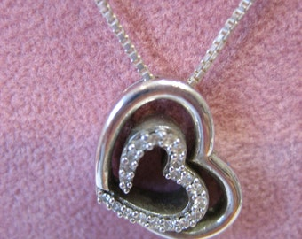 "Vintage Sterling Silver 925 Sadye L Vassil SLV Diamond Heart Necklace 18"" Chain - 4 grams"