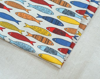 Linen colourful fish fabric 19,68 x 59 inch // Kids linen fabric // Backpack material