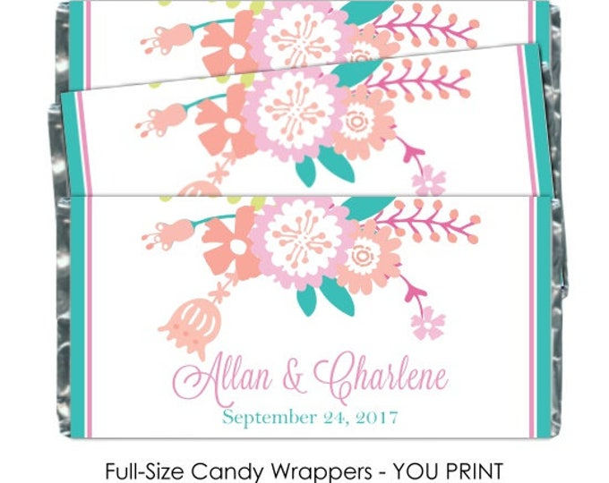 Printable Candy Wrappers, Pastel Floral Wedding Candy Wrappers, - fit over chocolate bars - bridal shower, wedding shower