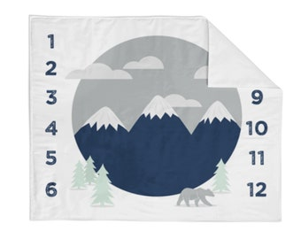 Monthly Milestone Blanket Navy Mountain - Crib Blanket - Baby Blanket - Mountain Baby Blanket - Monthly Counter Blanket - Boy Baby Gift