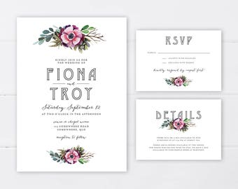 Woodland Wedding Invitation Suite | Wedding Invitation Printable | Rustic Wedding Invitation Suite | Forest Wedding Invitation Suite