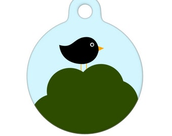 Pet ID Tag - Black Bird in Tree Pet Tag, Dog Tag, Cat Tag