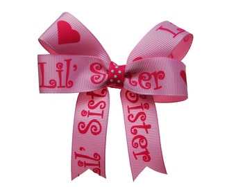 Lil' Sis Little Sister Pink Hair Bow