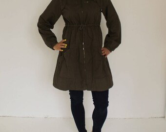 Vintage Military Army Green Jacket Women's army green hooded Forest Green Raincoat Trench Coat  Army Green Military Style Coat Hooded Khaki