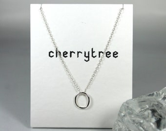 Tiny Oval Necklace, Sterling Silver Necklace, Dainty Oval Necklace, Geometric Jewellery, Simple, Modern, Minimal, Gift