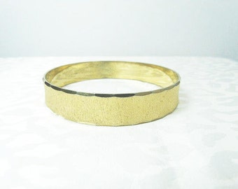 Anson Bangle Bracelet / Brushed Gold Bangle Bracelet / Designer Signed Bracelet