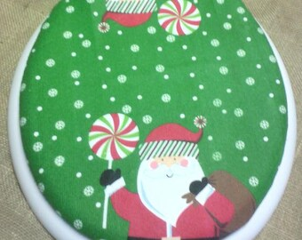 Santa and Candy Terry Cloth Fabric COVER Toilet Seat Lid Standard/Round