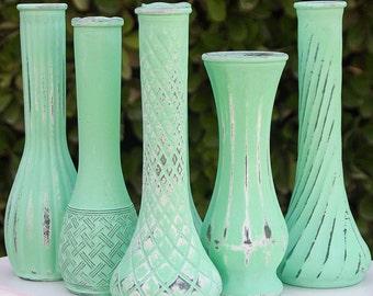 Aqua Mint Vase Shabby Chic Vintage Bud Vase