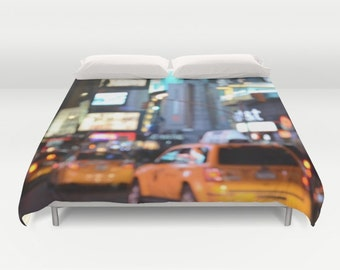 Yellow Cabs at Time Square in New York Duvet Cover, Dorm bedding, unique design, modern, urban, bedroom, city bokeh lights, street, teen