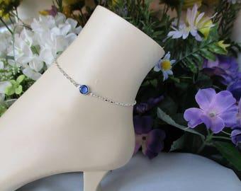 Something Blue Bridal Anklet-Sterling Silver Anklet-Sapphire Anklet-Bridal Jewelry-Wedding Anklet-Bridal Gift-September Birthstone Jewelry