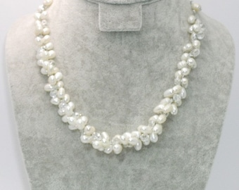 White Pearl Necklace, Pearl Wedding Necklace, Pearl and Crystal by Silk Thread