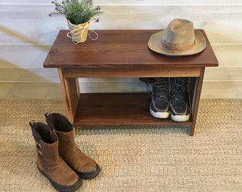 Walnut Bench, Wood Bench, Wooden Bench, Bench, Modern Bench, Bench with Shelf, Entryway Bench, Farmhouse Bench, Mudroom Bench, Porch Bench
