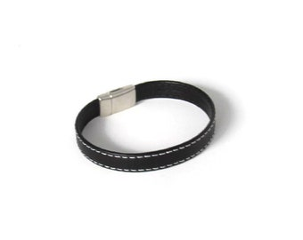 Stitched Goat Leather Bracelet for Men