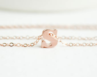 Dainty initial necklace handstamped initial jewelry silver rose gold letter necklace lower case letter rose gold initial rose gold initial necklace initial jewelry aloadofball Choice Image