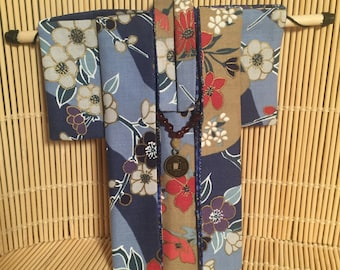 Fabric Origami Kimono - Blues and Reds with Charm