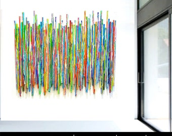 Large Wall Sculpture | Abstract Painted Mixed Media Wall Art | Custom Original Art Installation | Rosemary Pierce Modern Art | sku#LE33002