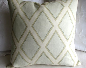 LINEN Pillow with insert 18x18 20x20 22x22  in Brookhaven Celadon linen by Kravet