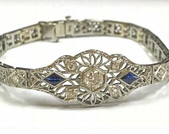 Art Deco  18K White Gold Filigree Women's Diamond And Sapphire Bracelet!!!!