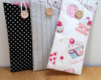 Eyeglass Case, Sunglass case, Eyeglass holder, Cupcakes + Sweets Collection, Padded Eyeglass pouch Sunglass pouch button & elastic closure
