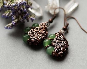 Nephrite Earrings, Copper Green Gemstone Earrings, Wire Jewelry, Gift for Her, Nephrite Bohemian Earrings