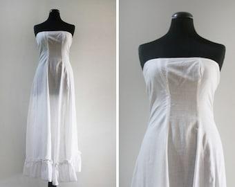 Vintage Cotton Strapless Maxi Slip w/ Lace Trim