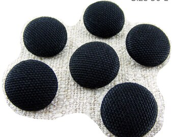 Size 30L Fabric BUTTONS 3/4 inch, 19mm, #30 Ligne, QTY: sets of (4) (6) (8) (10) (12) in Black Woven Cotton Shank button, Sewing