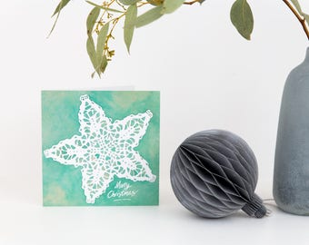 Merry Christmas Card, Happy Xmas Card, Teal colour, Snowflake design, We Wish You a Merry Christmas, Do you want to build a Snowman, snow