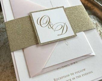 Blush Invitations, Glitter Invitations, Gold Glitter invitation, blush and gold invitation  Blush and gold glitter  100 W/RSVP set