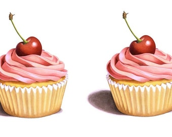 Temporary Tattoo - Set of 2 Cupcakes Series  / Tattoo Flash