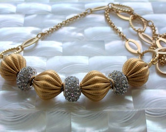 Gold Necklace, Crystal Necklace, Chain Jewelry, Beaded Necklace, Fashion Jewelry, Modern Jewelry, Nickel Free Chain