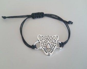 Bracelet Leopard/Simple bracelet with waxed cord / Leopard bracelet