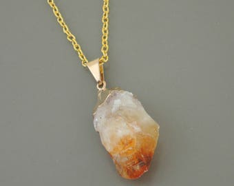 Citrine Necklace - Gold Necklace - Raw Citrine Necklace - Gemstone Necklace - Gold Dipped - Long Necklace - Boho Necklace - handmade jewelry