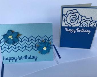 Set of 2 Happy Birthday cards. Flower Birthday cards. Handmade Birthday Card. Birthday Greeting Cards.Blank Birthday Card