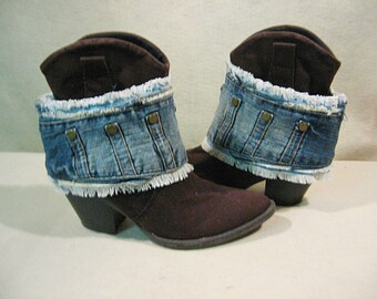 Denim Boot Cuffs, Denim Boot Wraps, Boho Boot Wraps, Counry Girl Boot Wraps, Cowgirl Boot Cuffs, Boho Boot Bling, Fringed Denim
