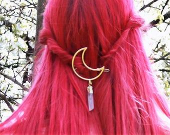 Moon Hair Clip - Gifts For Womens Boho Hair Clip - Teen Girl Gifts - Gemstone Dangle Bohemian Hair Accessory - Gold Hair Barrette