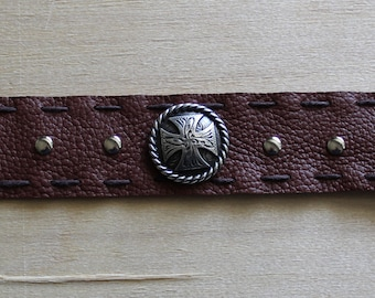 Brown Leather with Iron Cross center
