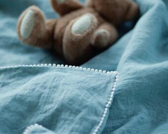 Aangepaste lijst van Elena. Baby beddengoed set, aquamarijn, blauwe kleur.