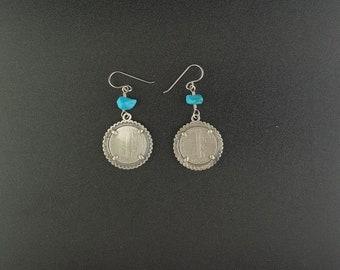 1944 Liberty One Dime Kingman Turquoise sterling silver dangle earrings