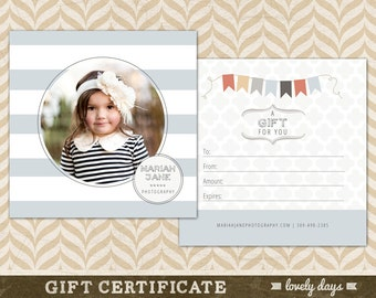 Photography Gift Certificate Template for Photographers INSTANT DOWNLOAD
