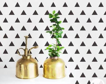 Triangle pattern removable wallpaper, self adhesive or traditional material, scandi style self adhesive temporary wallpaper