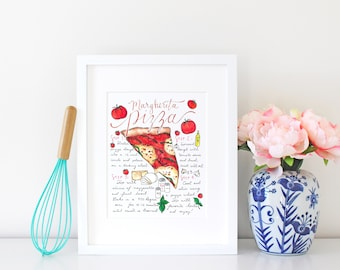 Pizza Recipe Art Print, Pizza Party, Kitchen Decor, Gift for Foodie, Gourmet Gift,Pizza Lover,Gift for Chef,Gift for College Student,For Mom