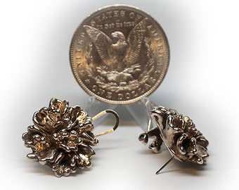 Sterling Silver Chrysanthemum Post Leverback Earrings