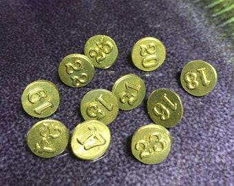 Brass Tacks - Bright Shiny Brass- Old Window Markers - Numbered Tacks - Vintage Push Pins - Copper Pins - Set of 11