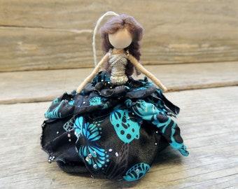 Persephone Fairy Bendy Doll ~ Dainty Ornament ~ OOAK Waldorf Princess ~  Butterfly Skirt~ Flower Blue Black Silver ~ Art Doll Charm Jeweled