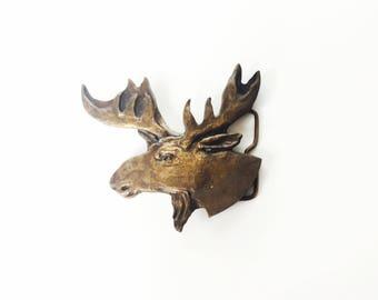 Vintage Brass Moose Belt Buckle