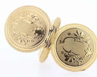 Goldfilled Elgin Pocket Watch 15 Jewel with Painted Dial   Leaf Pattern