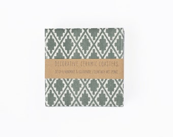 Ceramic Tile Coasters Kilim Rug Pattern Dark Forest Green Emerald Bohemian Style Drink Coasters