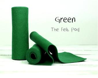 """Wool Felt Roll - 100% Wool Felt in Color GREEN - 5"""" X 36"""" Wool Felt Roll - Merino Wool Felt"""