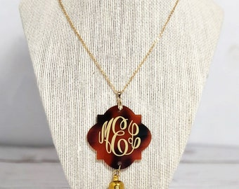 Monogrammed Necklace – Initial Necklace - Long Tassel Necklace – Monogram Acrylic Necklace
