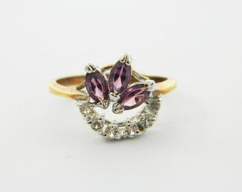 Vintage Amethyst Triple Marquise Ring - Size 7 Ring - VPE201